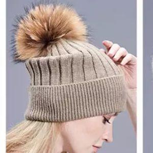 My Beanie Knitted Cotton Fur Pom Pom Hat